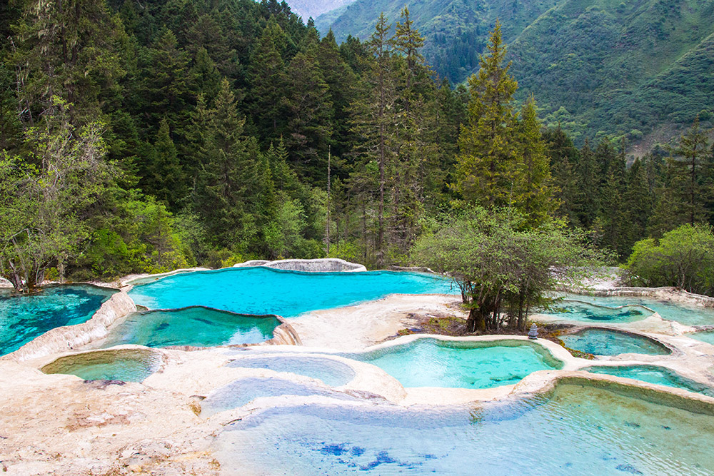 The multi-colored ponds in Huanglong