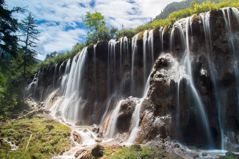 A waterfall in Jiuzhaigou