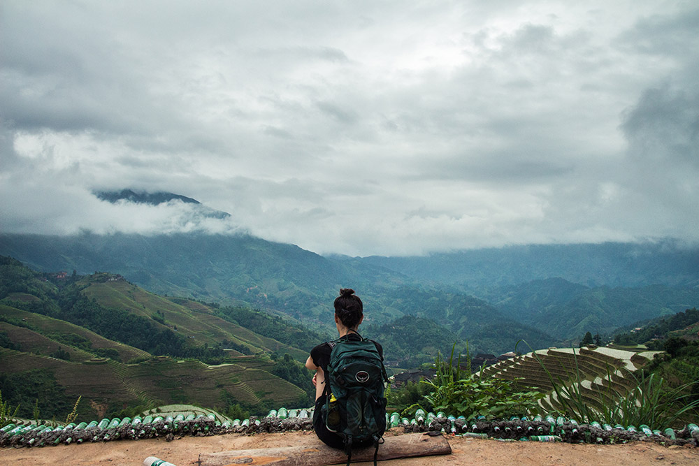 Gazing over the rice terraces in Longsheng