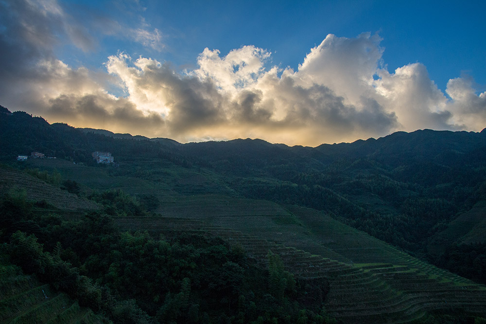 Sunset over the rice terraces of Longsheng