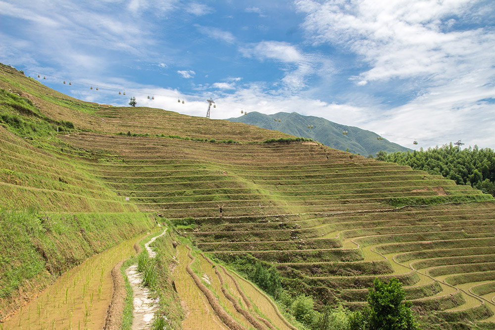 The cableway over the Longsheng rice terraces