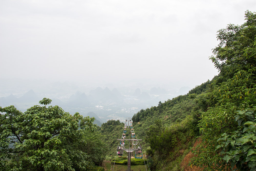 The cableway up to the summit of Yao Shan in Guilin