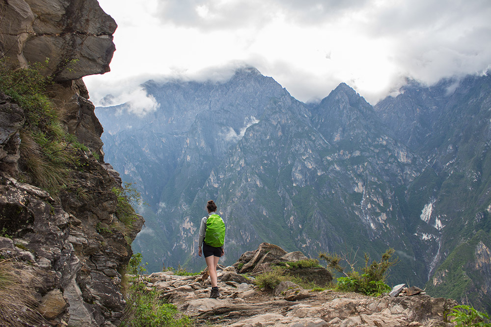 Christina hiking the Tiger Leaping Gorge