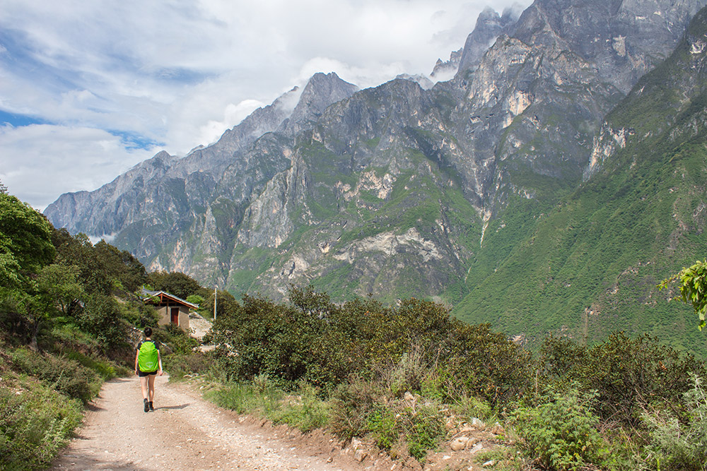 Christina walking in the Tiger Leaping Gorge
