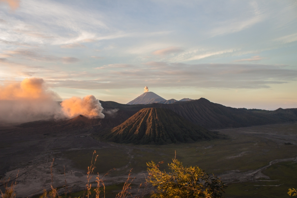 Smoking Mt Bromo and Mt Senaru